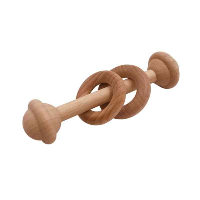 Baby Teether, Beech Rattle Wood Teething Rodent Ring