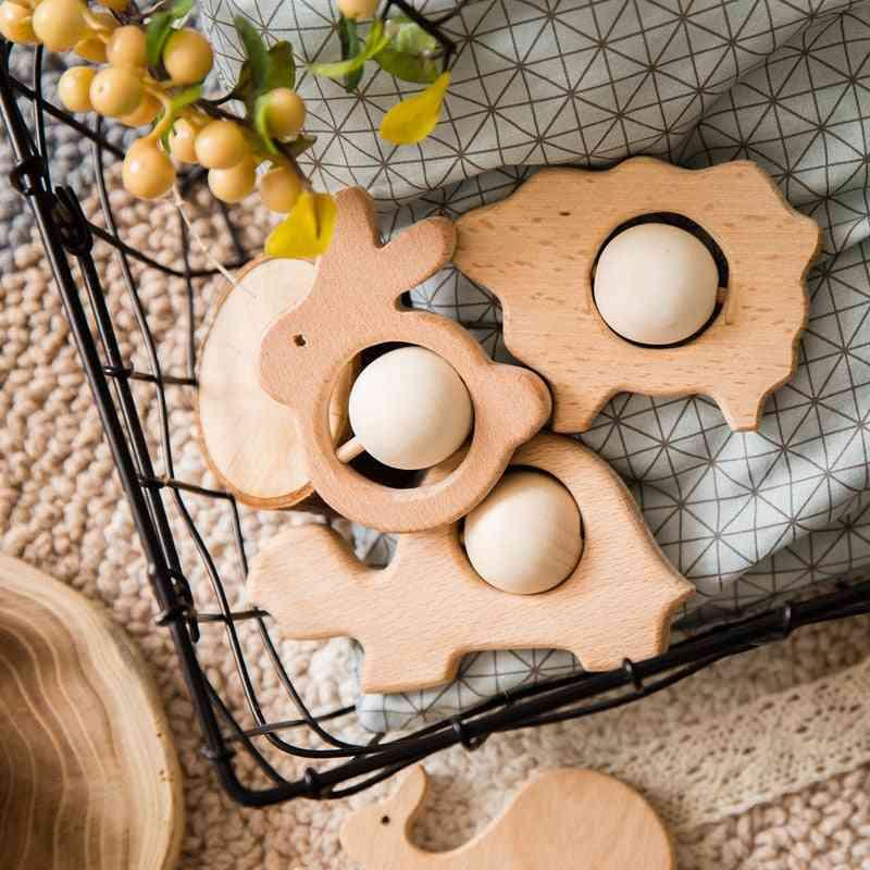 Baby Molar, Cartoon Animals Shape,wooden Teething Rattles