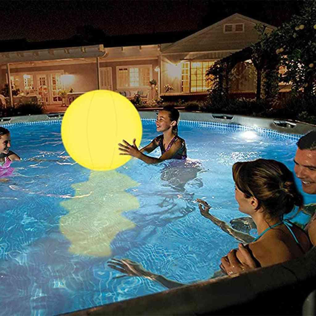 Glowing Beach Ball With Led Light And Remote Control-swimming Pool Toy