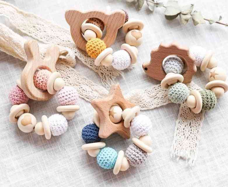 Wooden Teether Hedgehog Crochet Beads -wood Crafts Ring Engraved Bead For Baby Rattle