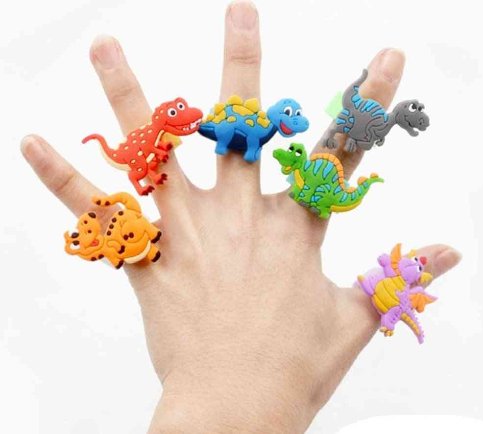 Flexible, Colorful Dinosaur Cartoon Design- Rubber Rings