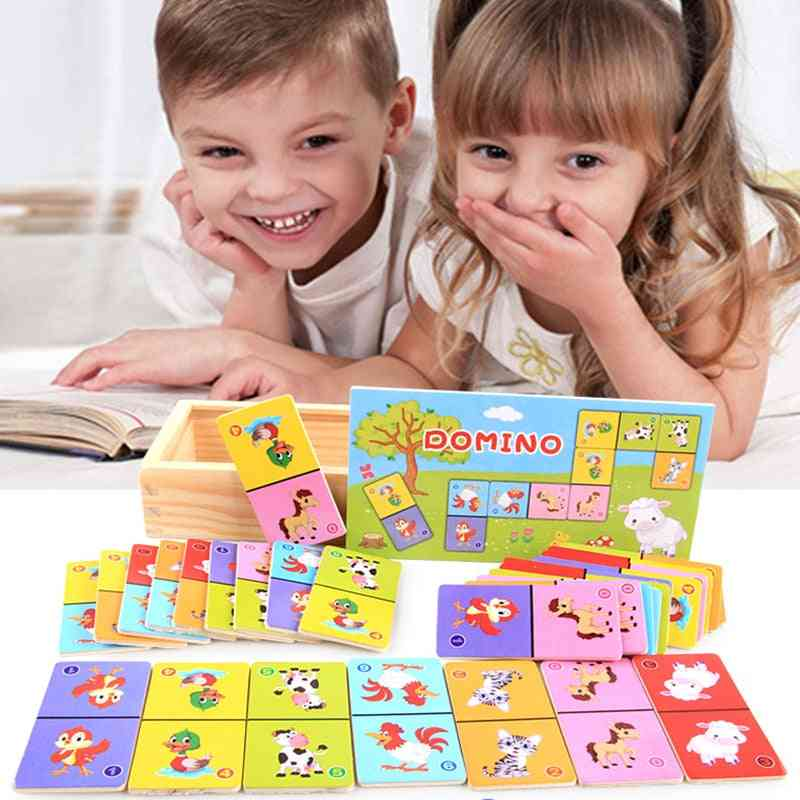 Children's Cognitive Animal Solitaire Dominoes Board Game, Early Learning Puzzle Baby Jigsaw Toy