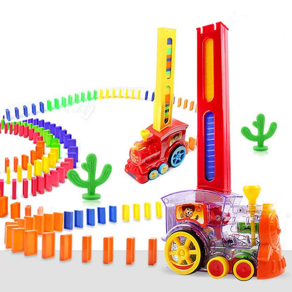 Automatic Domino Train Toy Set- Brick Indoor Model Educational Games