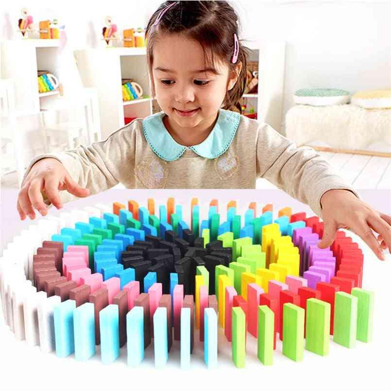 Children Rainbow Wooden Domino Blocks