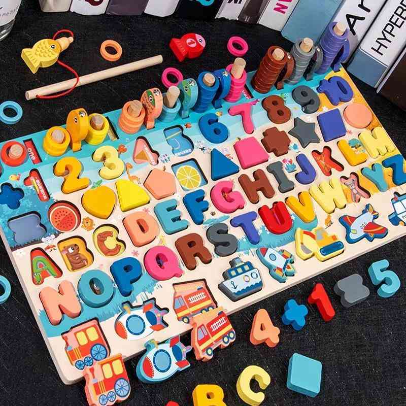 Montessori Educational Wooden, Board Math Fishing Count Numbers Digital Shape Match Early Education