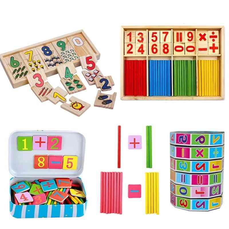 Baby Education Montessori Box Digital Clock Math Number Digital Counting Wood Stick Baby Kids