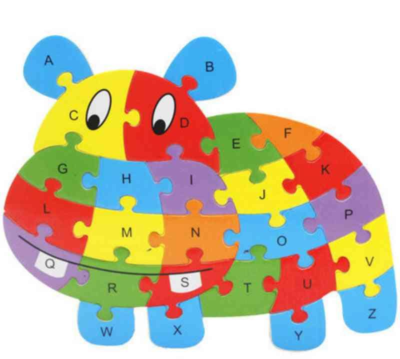 Animal Shape Design, Geometry Wooden Board- English Alphabet Montessori Toy
