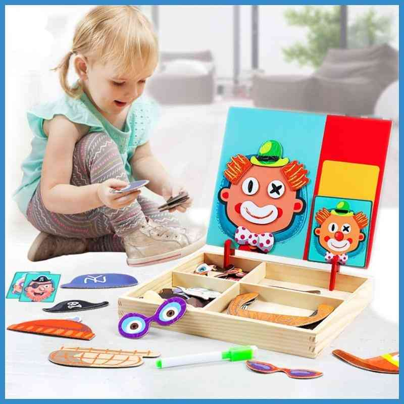 Magnetic 3d Puzzle Montessori Educational Wooden, Tangram Jigsaw Shapes Puzzle Box For