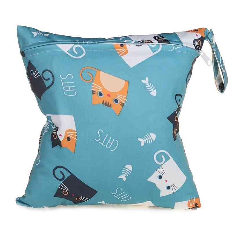 Seven Cat Patterns, Waterproof Baby Diaper Storage Bags