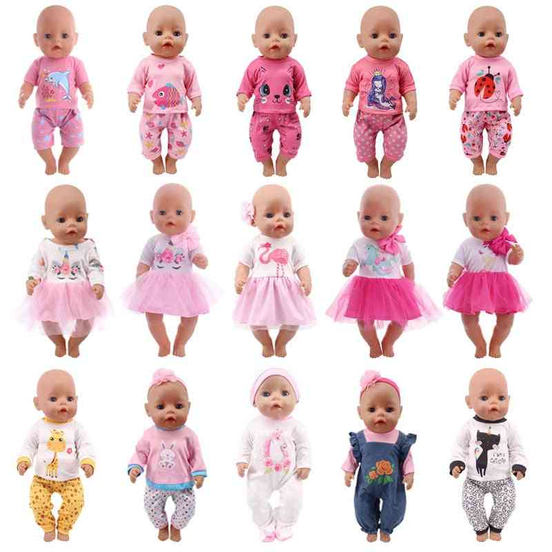 Cute Cartoon Printed Dress Fit For 18 Inch American & 43cm New Born Baby Doll