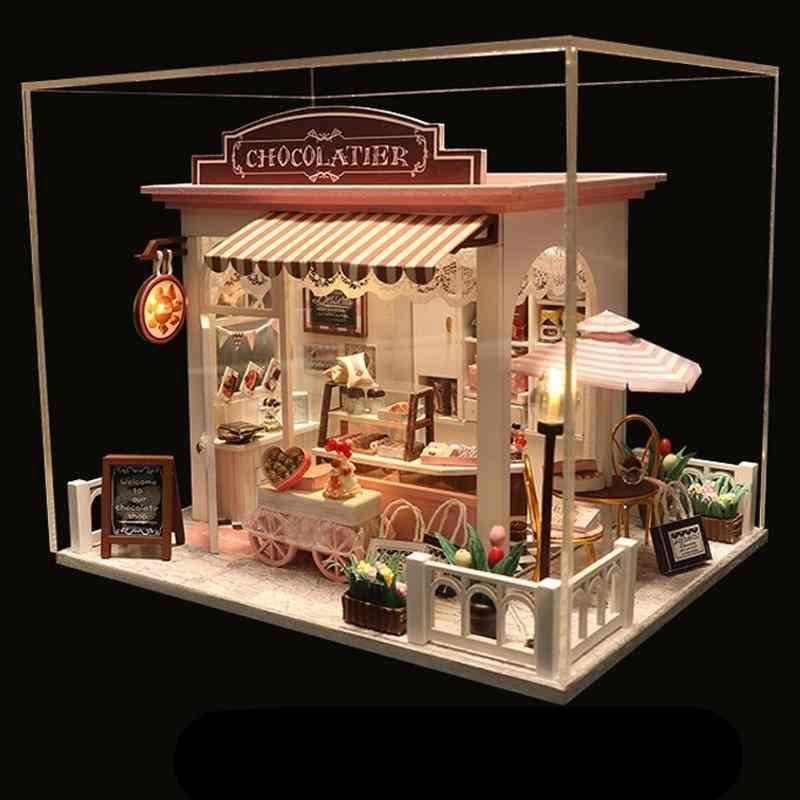 Mini Doll House Miniature Diy Wooden Choclate Store