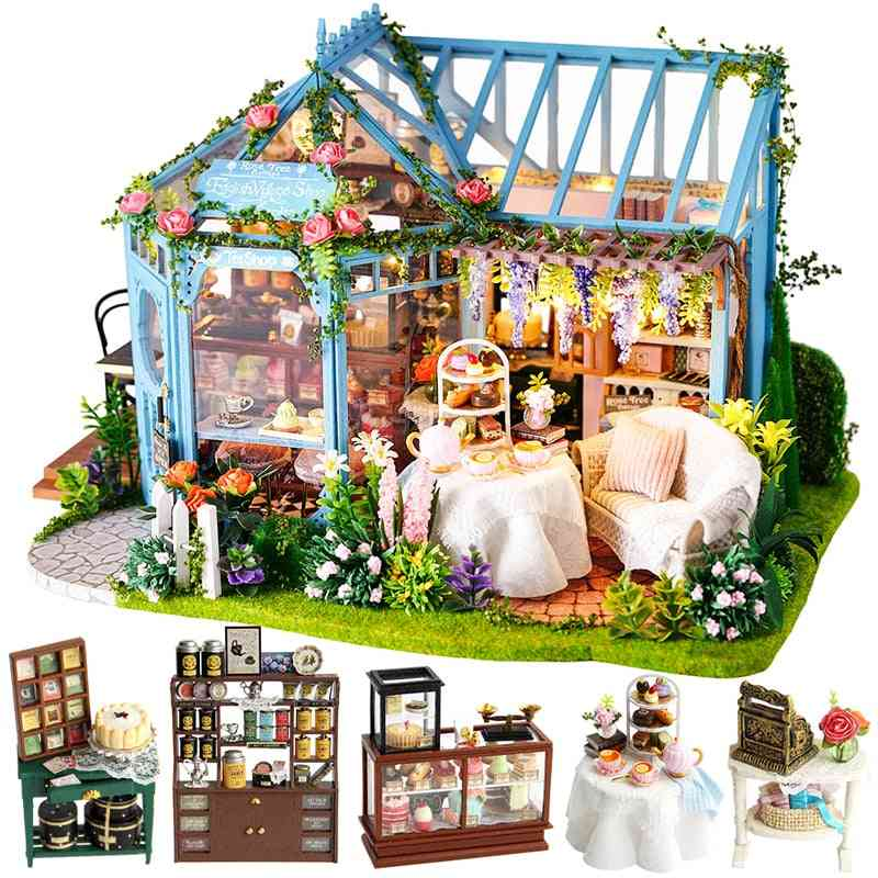 Wooden Doll Houses Miniature- Furniture Kit-music Led For
