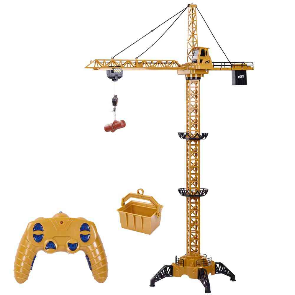 Remote Control Tower Crane-680°rotation Lift Model, Musical Led Construction Toy