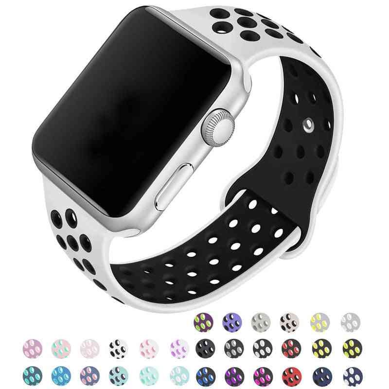 Silicone Wristband Suitable For Apple Watch-breathable Bracelet (set-29)