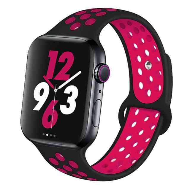 Silicone Wristband Suitable For Apple Watch-breathable Bracelet (set-17)