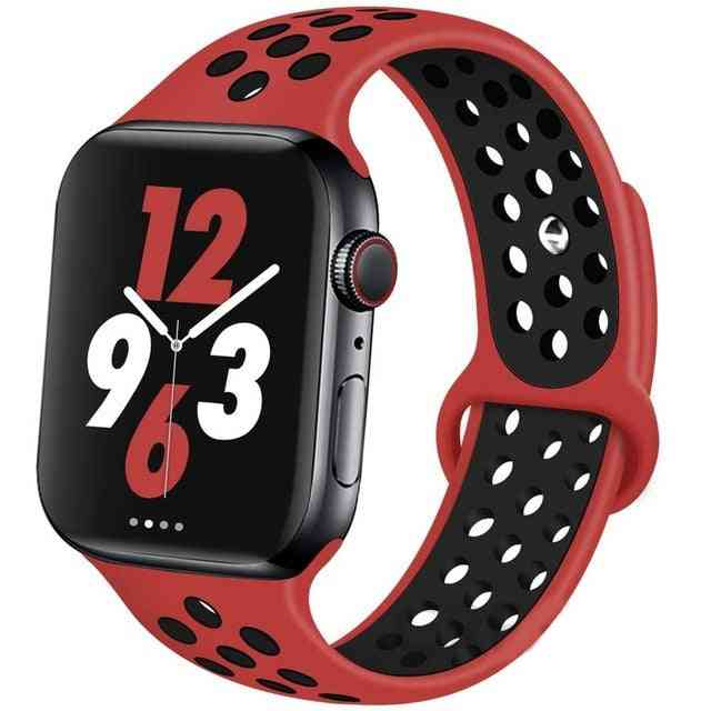 Silicone Wristband Suitable For Apple Watch-breathable Bracelet (set-13)