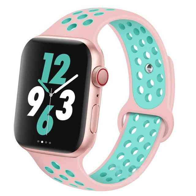 Silicone Wristband Suitable For Apple Watch-breathable Bracelet (set-6)