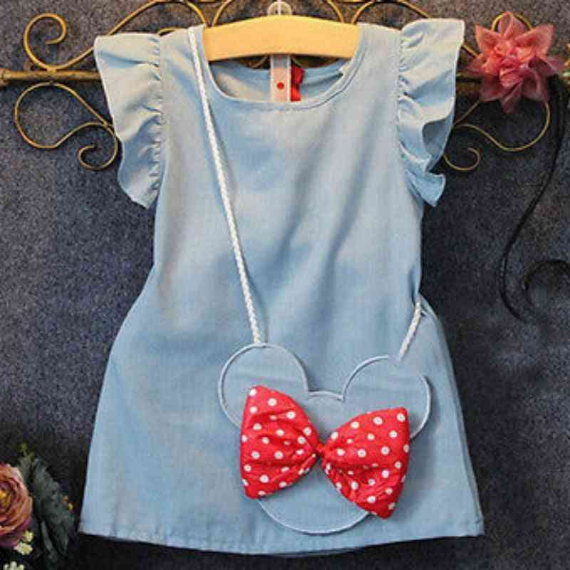 Pattern Print Cartoon Dress For Baby Girl, Summer Clothes