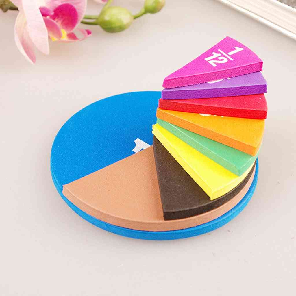 51 Piece Circular Fractions Math Toy Without Magnet Early Education