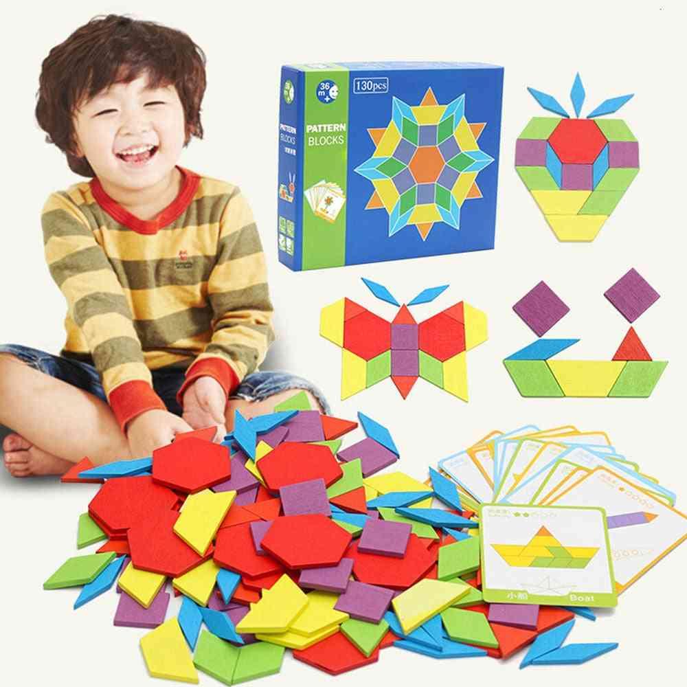 Wooden, Geometric Shape, Pattern Blocks For Developing Kids Iq