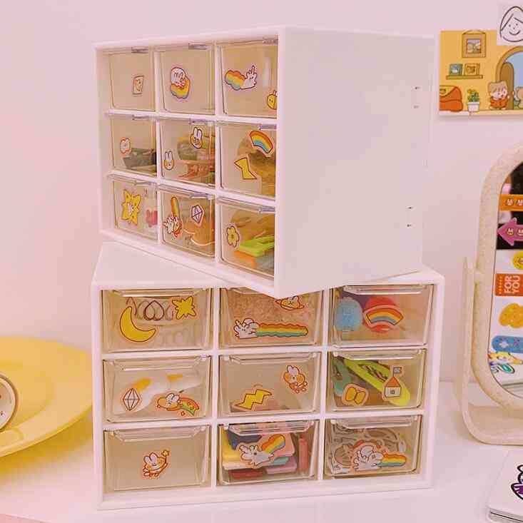 Multifunctional 9 Grid Desk Organizer, Box, Make-up Storage Case