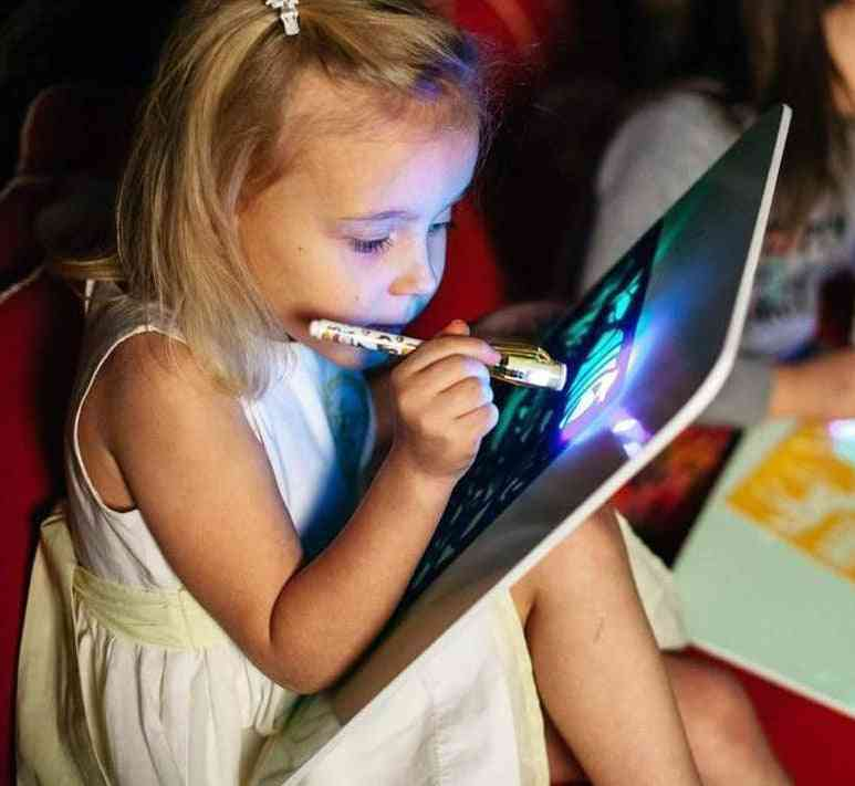 A3 Big Light Luminous Drawing Board, Tablet Draw In Dark Magic With Fluorescent Pen