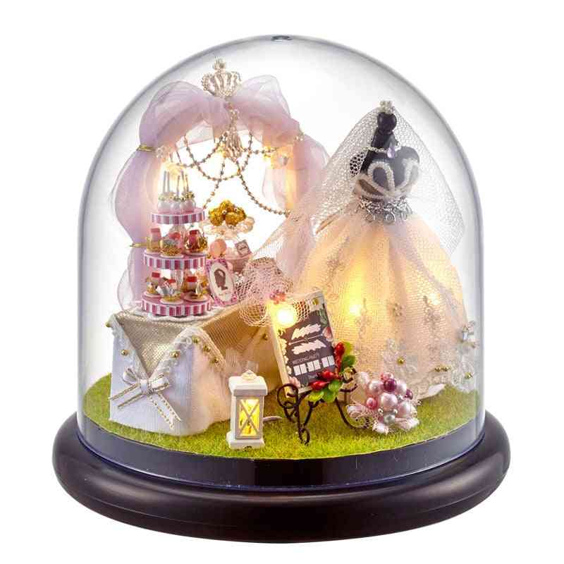 Cute House Miniature With Furniture, Led Music Dust Cover Model Building Blocks Toy