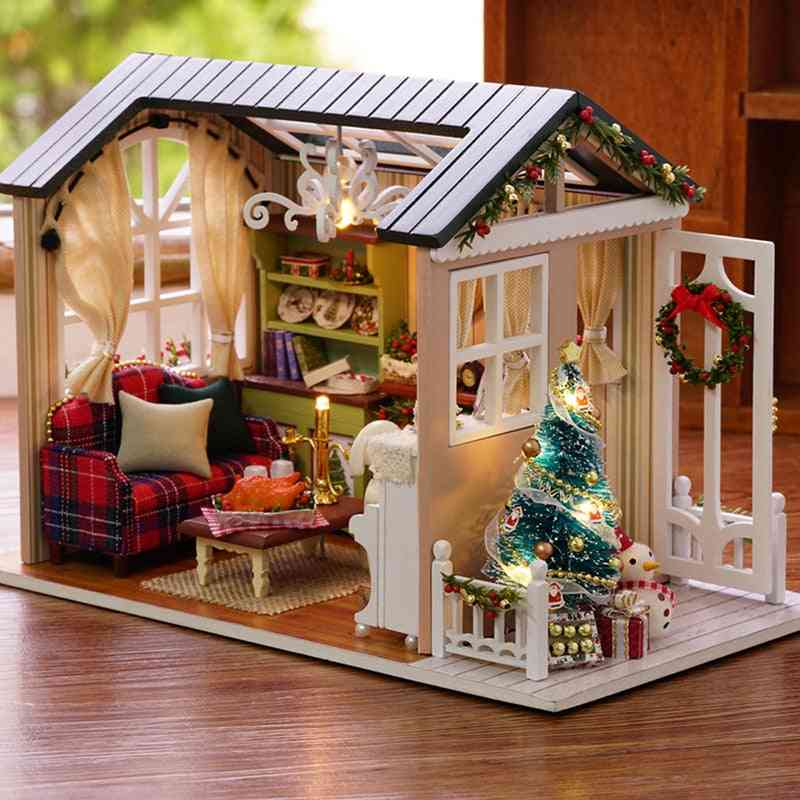 Miniature Diy Doll House With Wooden Furniture Toy For