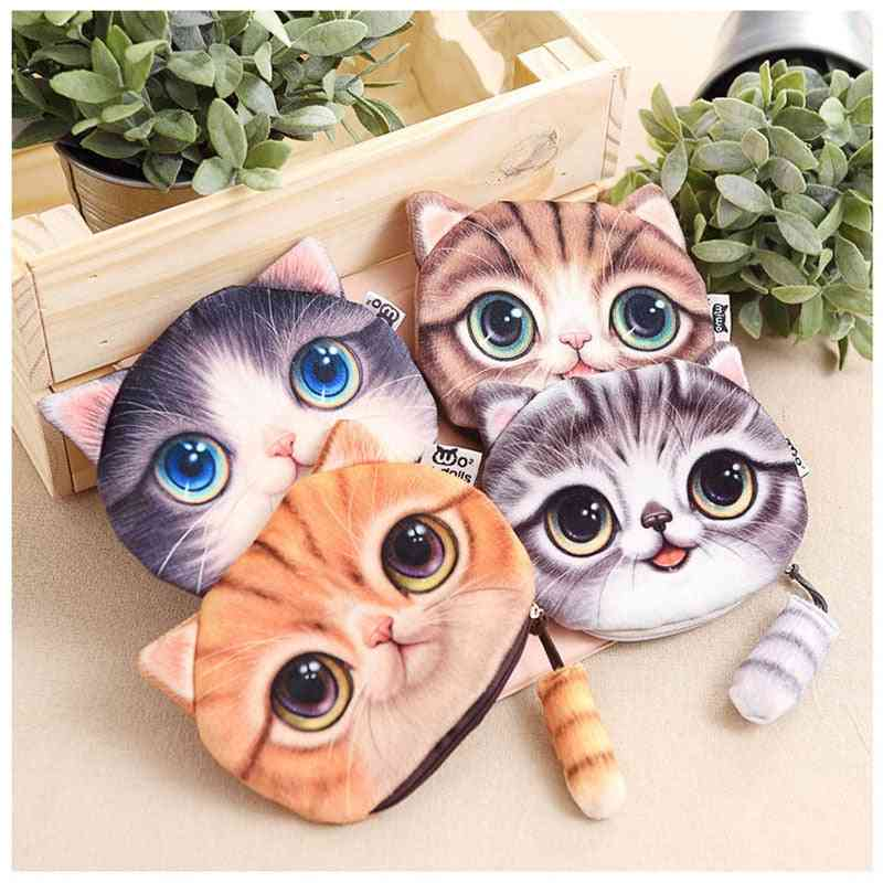 Double Side Cat Head Printed, Soft Plush Coin Purse With Tail