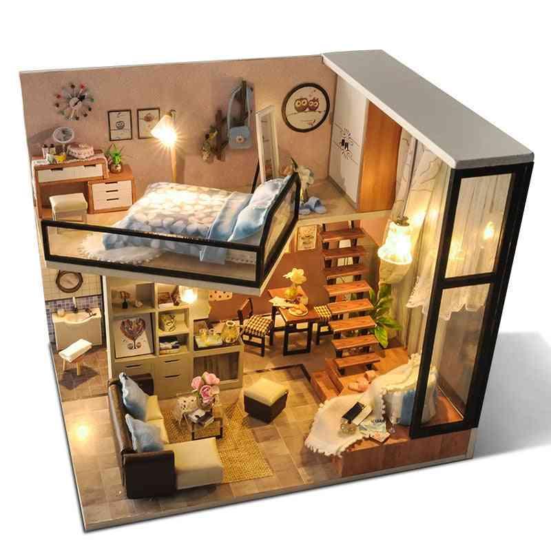Diy Assemble Wooden Doll Houses Miniature Kit