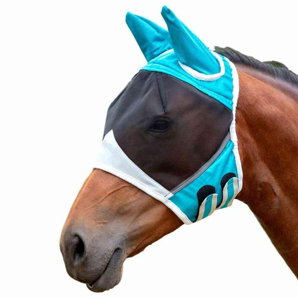 Horse Fly Mask, Mesh Veil Hood Eye & Ear Protective Cover