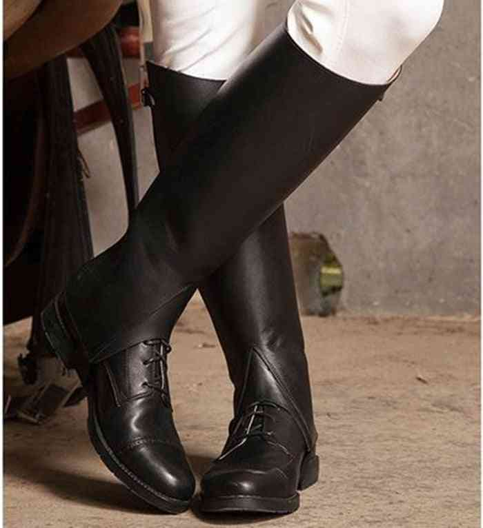 Profession Half Equestrian Full Leather Horse Riding Chaps Body Protector Equipment, Women And