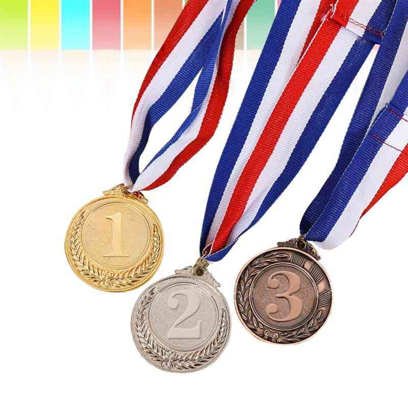 3pcs Metal Award Medals With Neck Ribbon-olympic Style For Sports Academics