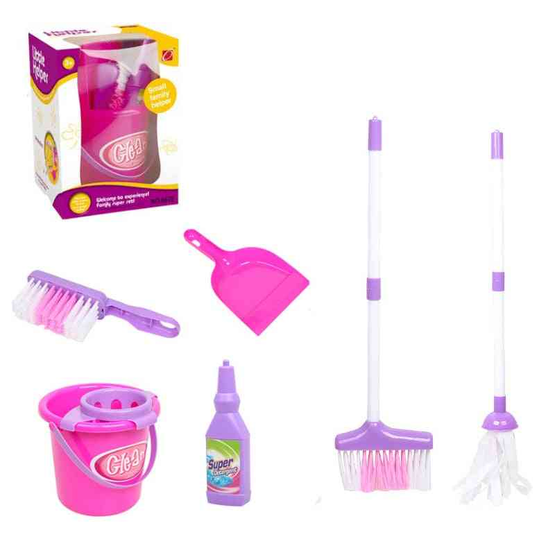 Baby Play Housekeeping- Mini Simulation Mop/broom/bucket For Role Playing