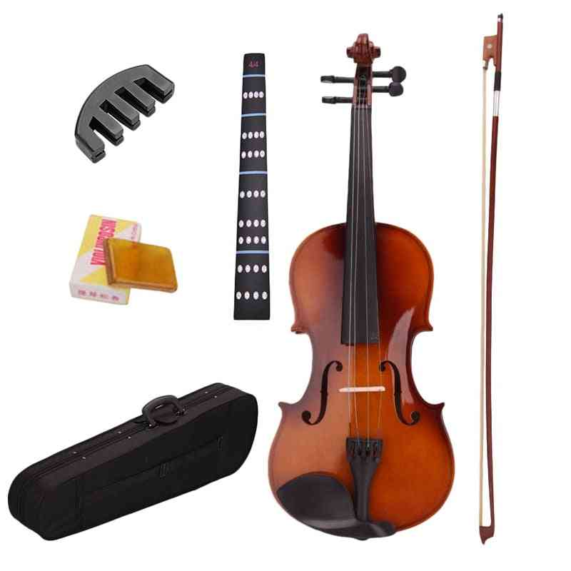 4/4 Full Size Natural Acoustic Violin Fiddle With Case, Bow Rosin, Mute, Stickers