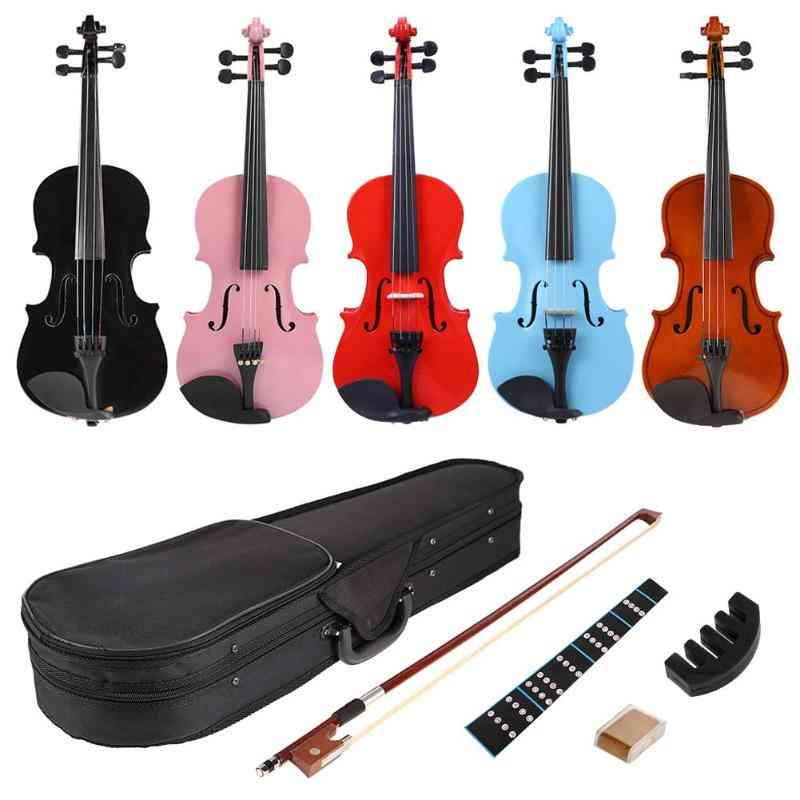 1/8 Splint Bright Acoustic Violin Fiddle With Rosin Case Bow Muffler Kits