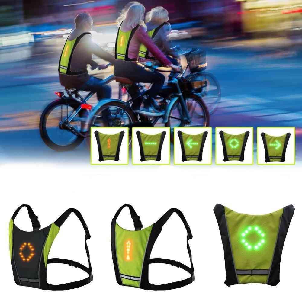 Led Wireless Cycling 20l Mtb Bike Bag Safety Turn Signal Light, Bicycle Reflective Warning Vest