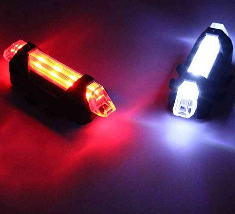 Bike Bicycle Led Taillight Rear Tail Safety Warning Portable Light, Usb Rechargeable / Battery Style