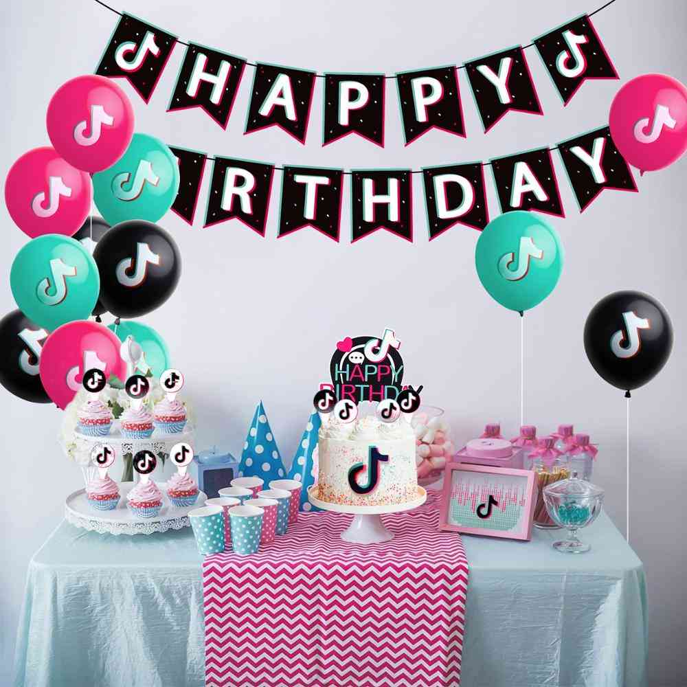 Birthday Printing Banner Balloon, Cake Topper Music Sign Flags