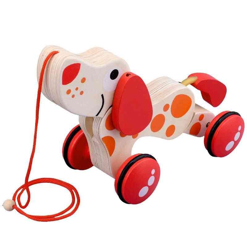 Wooden Puppy Design Pull Toy Car