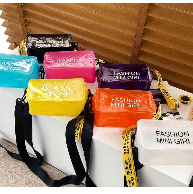 Square Bucket-shape, See-trough, Cross-body, Letter Print Bags