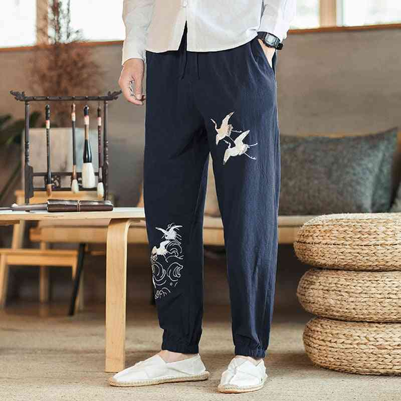 Men's Linen And Cotton Embroidered Trousers With Elastic Waist