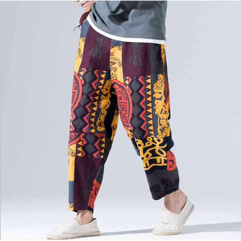 Wide Leg, Printed Loose Cotton Pants-casual Hip Hop Trousers
