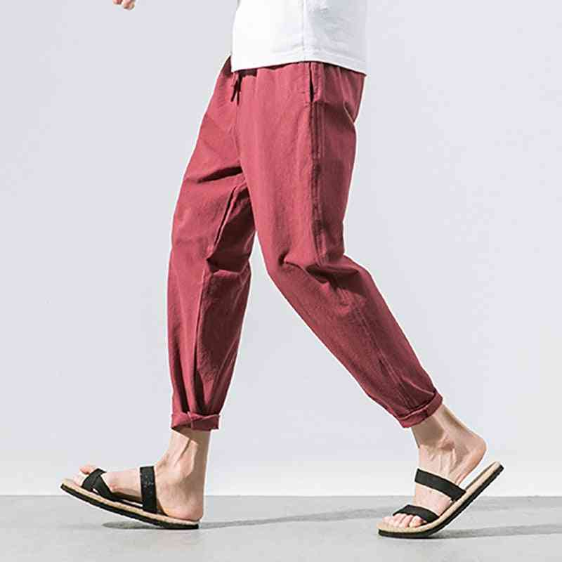 Summer Straight, Casual, Cotton And Linen Men's Loose Pants