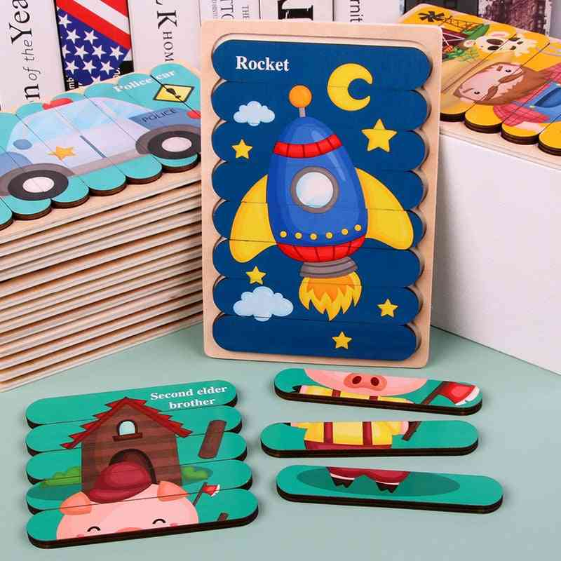 Wooden Double-sided, 3d Puzzle, Stories Telling Toy For