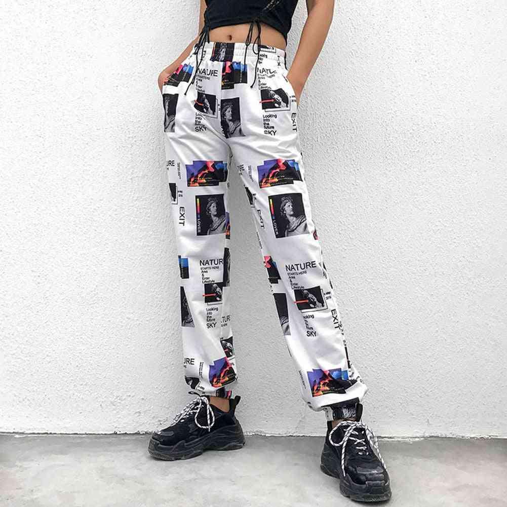 Cargo Pants With Skateboard Print Wide Leg Trousers High Street Punk Female
