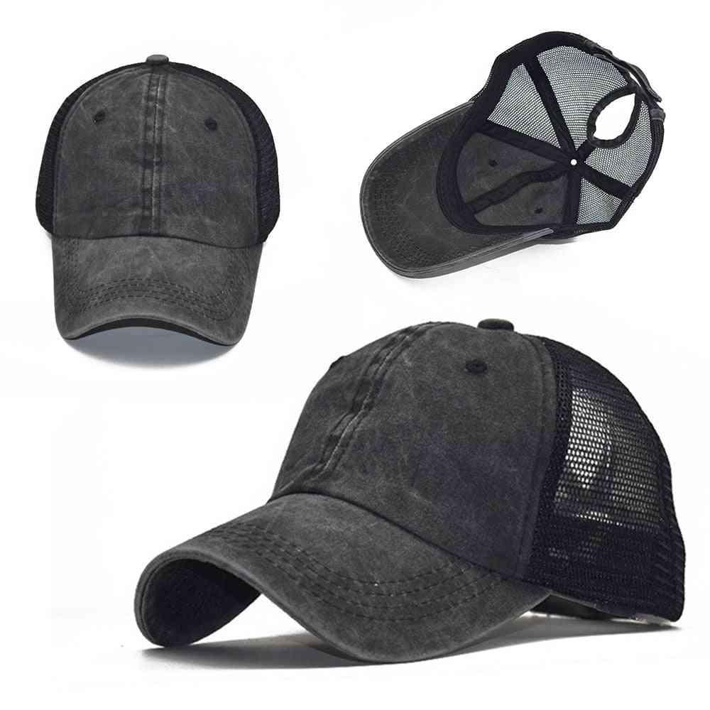 Adjustable Tennis Cap, High Bun, Ponytail Baseball Hat For Female