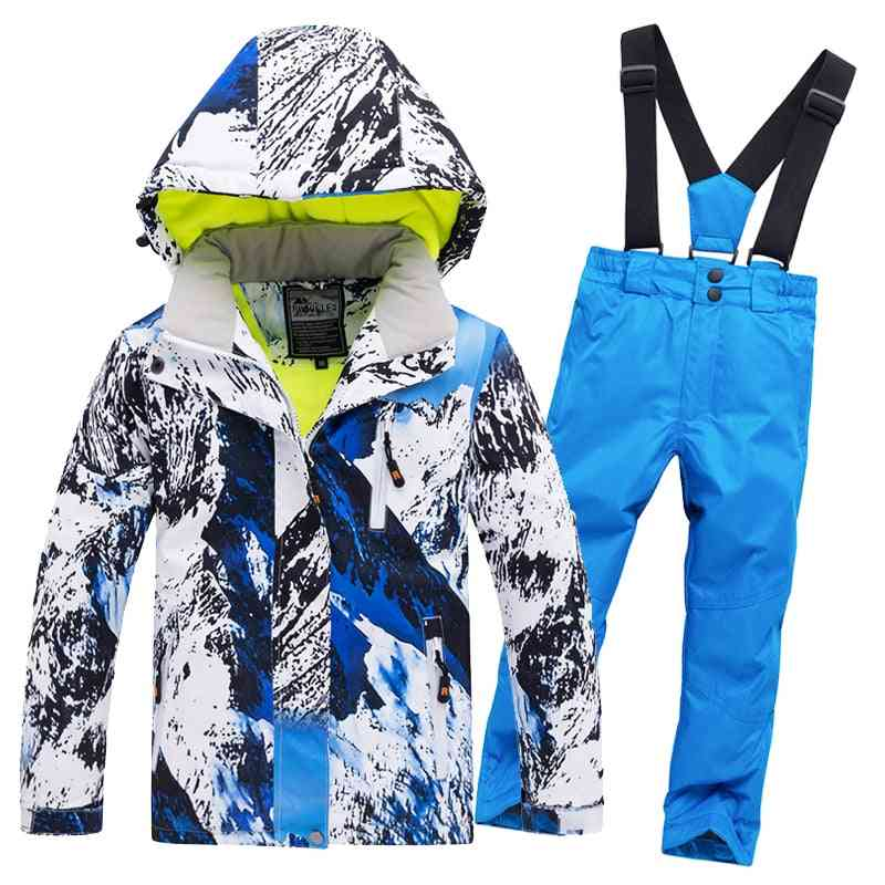 Boys/girls Waterproof Pants+jacket Set, Winter Sports Thickened Clothes's Ski Suits