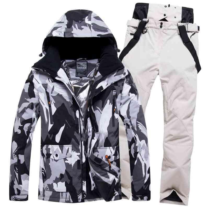 Windproof Ski Suit Men Winter, Waterproof Outdoor Sports Snow Jackets And Pants