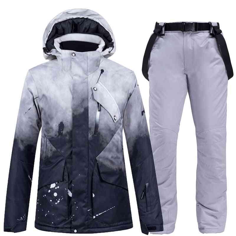 New Thick Warm Women Ski Suit Waterproof Skiing Snowboarding Jacket Pants Set